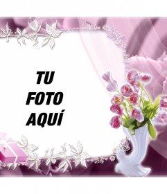 Precioso marco con rosas para editar con tu foto y gratis