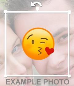 Sticker para pegar el emoticone de beso en tus fotos gratis