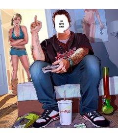 Fotomontaje con una ilustración del GTA V en el que aparece un chico en su habitación jugando al videojuego y su novia enfadada en la puerta