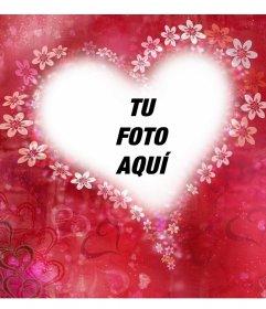 Corazón con flores para decorar tu foto con este montaje gratis