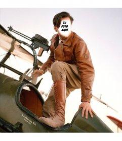 Fotomontaje de un aviador en un avión de combate