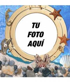 Fotomontaje debajo del mar en el que puedes poner tu foto junto a cavallitos y estrellas de mar