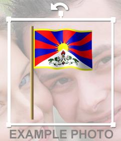 Bandera del Tíbet en el asta que puedes pegar en tus fotos como sticker