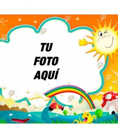 Fotomontaje para bebés con un colorido paisaje de fondo