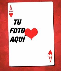Marco fotográfico con el as de corazones como montaje