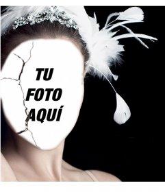Fotomontaje de un poster de la película Cisne Negro para poner tu cara
