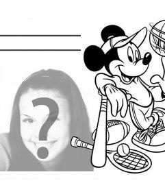 Sube tu foto a este dibujo de Mickey e imprime para colorear