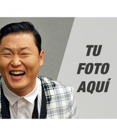 Crea fotomontajes con el cantante de PSY, creador del famoso Gangnam Style, y añade una fotografía que aparecerá con un filtro gris