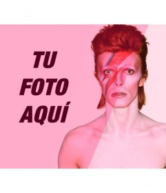 Fotomontaje con David Bowie con un filtro rosa para añadir y editar tus fotos online