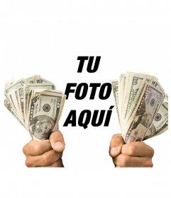 Pon tu foto con dos fajos de billetes agarrados en tus manos!