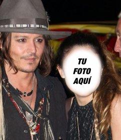 Fotomontaje con Johnny Depp para salir en una foto con él y escribir un texto en ella online