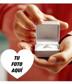 Fotomontaje para declarar matrimonio con un anillo de compromiso