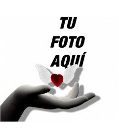 Fotomontaje de amor con una gema roja voladora con alas blancas en forma de corazón sobre una mano