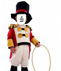 Fotomontaje infantil de domador de leones de circo para editar