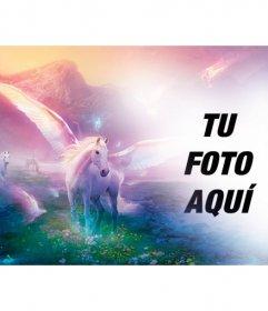 Fotomontaje de fantasia para poner tu foto junto a unicornios blancos en un paisaje de ensueño fantástico