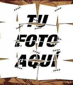 Fotomontaje de una foto cosida y con un pergamino marron de fondo