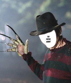 Fotomontaje de Freddy krueger para Halloween. Conviértete en el famoso asesino de pesadilla en Elm Street y métete en los sueños de tus enemigos