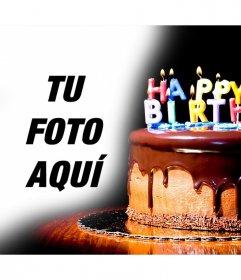 Torta de chocolate con velas donde puedes poner tus imágenes