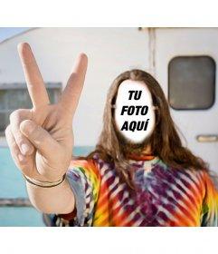 Fotomontaje para poner tu rostro en un hippie con una caravana