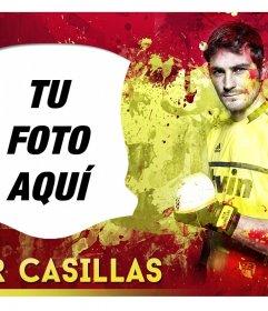 Fotomontaje con Iker Casillas y la bandera de España de fondo