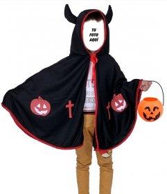 Fotomontaje para halloween para disfrazar a los niños de diablo con cuernos