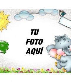 Fotomontaje infantil con un paisaje dibujado y tu foto de fondo