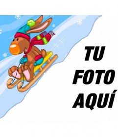 Fotomontaje infantil con un reno en un trineo de nieve