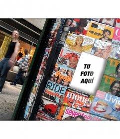 Fotomontaje de una revista en un Kiosko donde poner tu fotografía en la portada de una de ellas