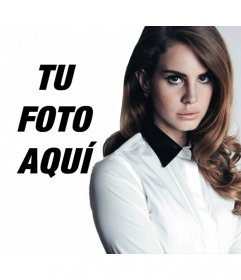 Fotomontaje junto a Lana del Rey mirando a cámara con elegancia