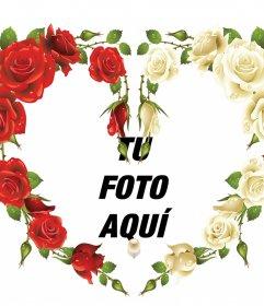 Marco para fotos con rosas rojas y blancas en forma de corazón