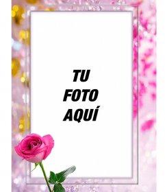Marco para fotos con una rosa, rodeado de perlas bonitas y diamantes