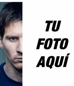 Fotomontaje para posar con Messi mirando a cámara intensamente