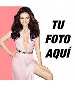 Montaje con Mila Kunis vestida con traje rosa, muy elegante