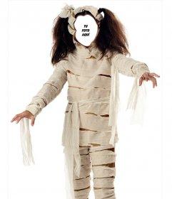 Fotomontaje de una niña disfrazada de momia para halloween que puedes editar
