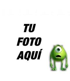 Fotomontaje para añadir un monstruo verde con un solo ojo a una foto y personalizar con texto