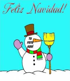 Fotomontaje de Muñeco de nieve deseando Feliz Navidad!