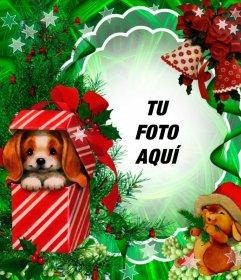 Fotomontaje de Navidad con un precioso perrito como regalo
