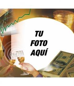Marco para fotos con dinero champan y billetes de adorno para poner tu foto en el centro