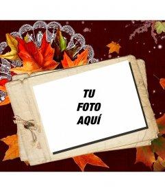 Fotomontaje de otoño con una tarjeta efecto polaroid