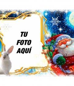 Marco de fotos con Papá Noel y su trineo para personalizar con tu foto