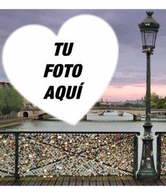 Fotomontaje con el puente de los candados del amor en Paris para añadir tu foto