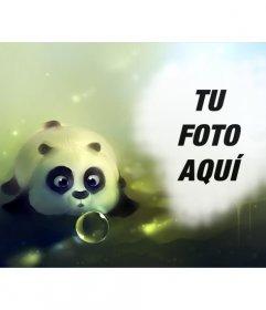 Fotomontaje con un oso panda dibujado soplando a una pompa de jabón y un hueco a la derecha donde poner una foto