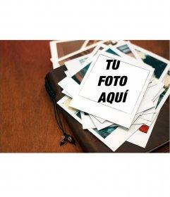 Marco para poner tus fotos en una montaña de Polaroids de recuerdo