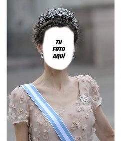 Fotomontaje de la Princesa Letizia con una gran corona para insertar tu foto