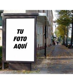 Fotomontaje para poner una fotografía como si fuera un poster publicitario en la marquesina de una parada de autobús