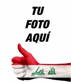 Fotomontaje para añadir en tus fotos una mano con la bandera de Irak