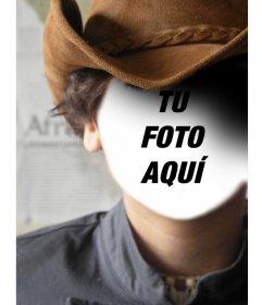 Fotomontaje con el retrato de un vaquero donde podrás añadir tu cara