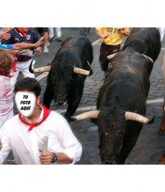 Fotomontaje para verte perseguido por toros de San Fermín
