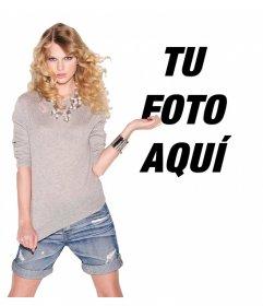 Montaje con la cantante Taylor Swift posando con estilo