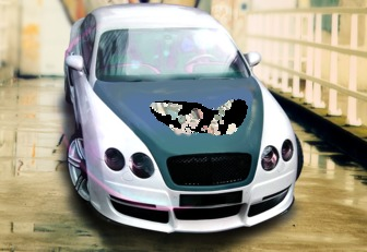 Montaje fotográfico de un coche tunning para poner tu foto en el capó